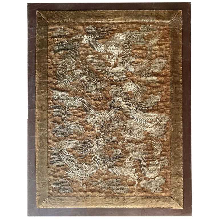 Large Framed Japanese Embroidery Dragon Tapestry For Sale
