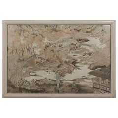 Large Framed Japanese Embroidery Textile Panel Meiji Period