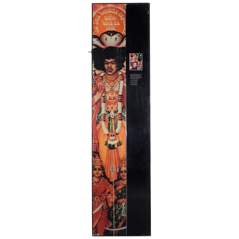 Large Framed Jimi Hendrix Panel Attributed to Jimi Hendrix Traveling Exhibit For Sale