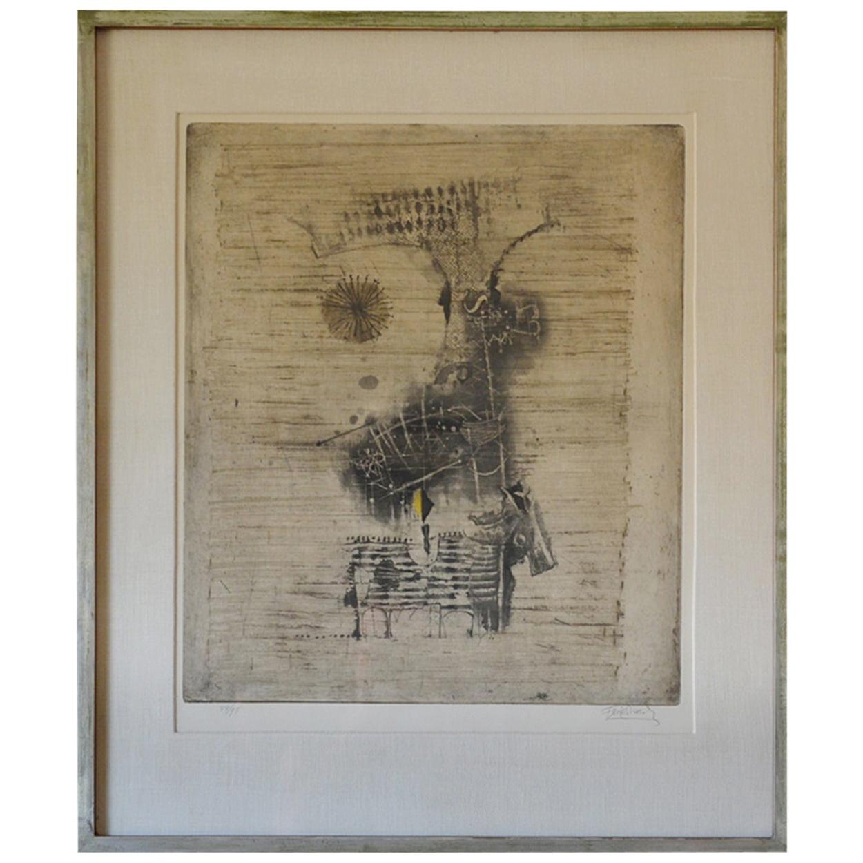 Large Framed Lithograph by Frederick Weinberg