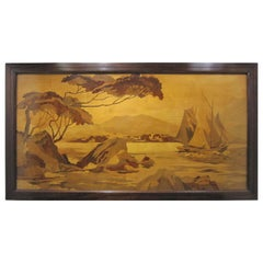 Large Framed Marquetry Inlaid Scenic Wood Panel