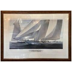 Large Framed Sailing Print by Sailing Artist John Mecray