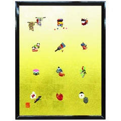 Large Framed Silk and Brocade Japanese Contemporary Oshie Wall Decorative Art