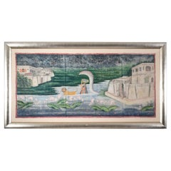 Large Framed Textile Depiction of the Baby Krishna Escaping King Kansa