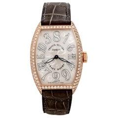 Large Franck Muller Crazy Hours 5850 18 Karat Gold Diamonds Watch Wristwatch