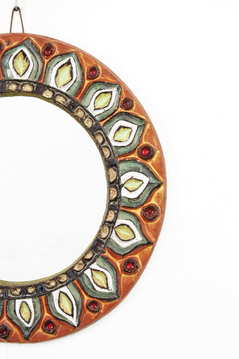 Large Francois Lembo Vallauris Floral Motif Ceramic Round Mirror, France, 1960s For Sale 3