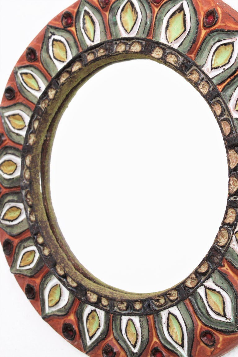Large Francois Lembo Vallauris Floral Motif Ceramic Round Mirror, France, 1960s In Excellent Condition For Sale In Barcelona, ES