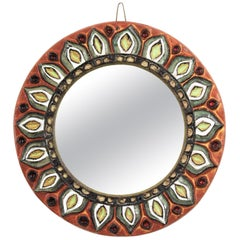 Large Francois Lembo Vallauris Floral Motif Ceramic Round Mirror, France, 1960s