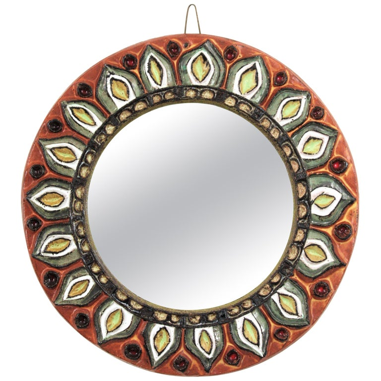 Large Francois Lembo Vallauris Floral Motif Ceramic Round Mirror, France, 1960s For Sale