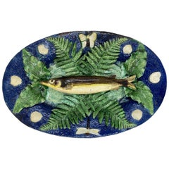 Large Franҫois Maurice Palissy Ware Majolica Trompe L'oeil Fish Plaque, 1880