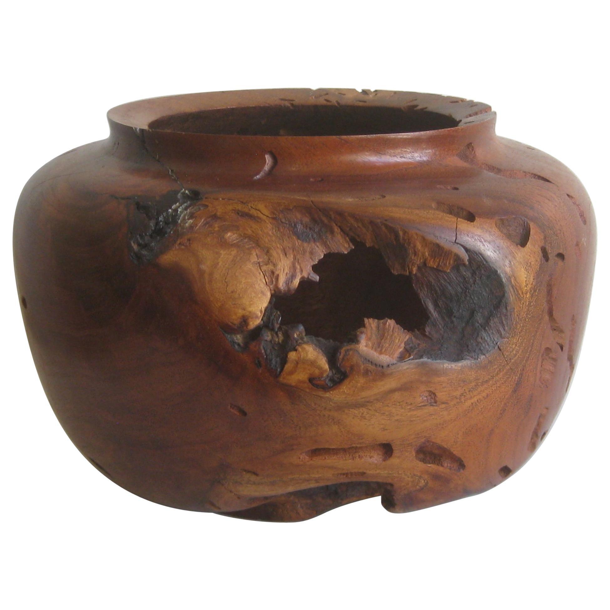 Large Freeform Mesquite Wood Organic Live Edge Bowl Vase by Norman Harrison