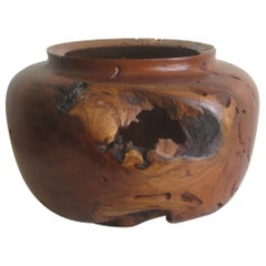 Large Freeform Mesquite Wood Organic Live Edge Bowl Vase by Norman Harrison