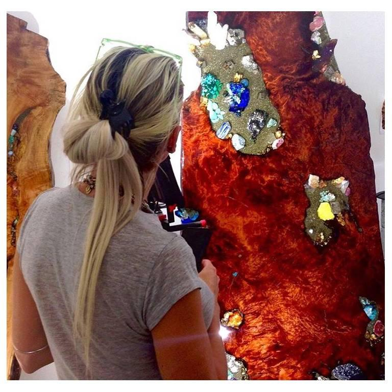 Standing redwood sculpture with crystal and gem inlay For Sale 1