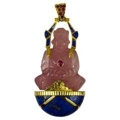 Large French 18K Yellow Gold Ruby Rose Quartz Lapis Buddha Pendant