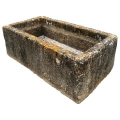 Large French 18th C Hand-Carved Limestone Trough