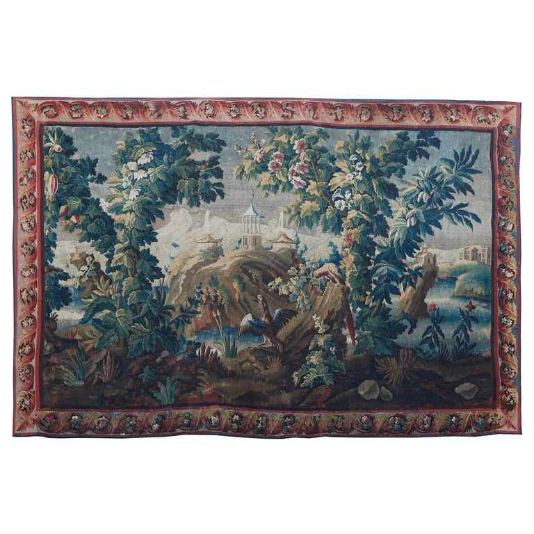 Large French, 18th Century Aubusson Verdure Tapestry