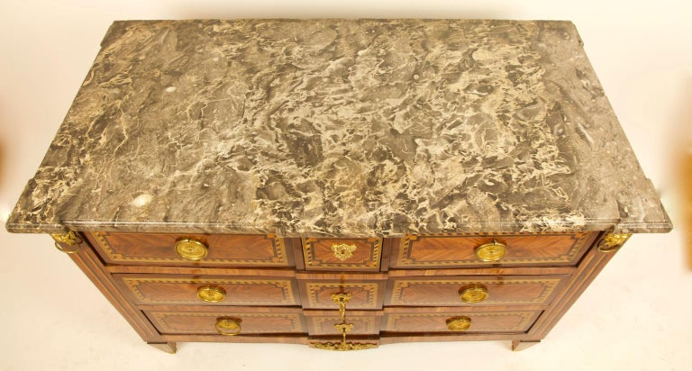 Large French 18th Century Louis XVI Marquetry Commode or Chest of Drawers For Sale 7