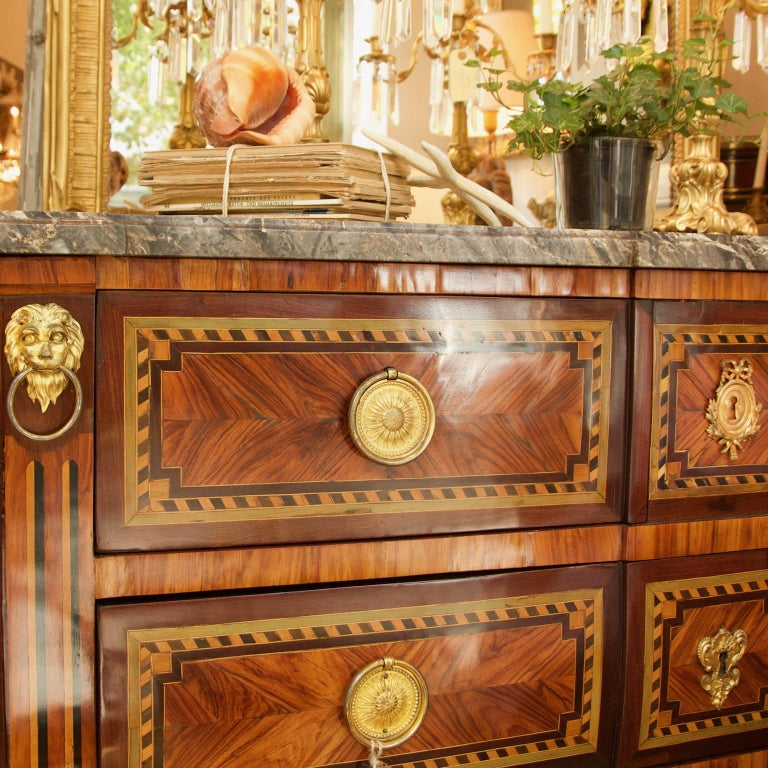 Large 18th Century French Louis XVI Neoclassical Marquetry Commode or Chest of Drawers à la Grècque