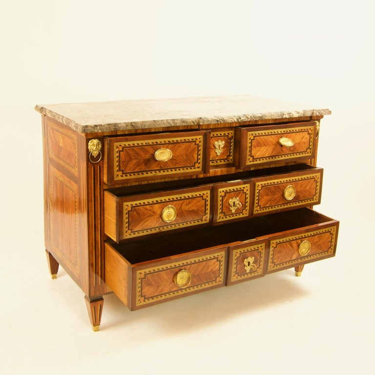 Gilt Large French 18th Century Louis XVI Marquetry Commode or Chest of Drawers For Sale