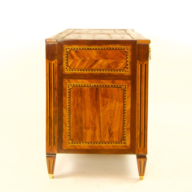 Late 18th Century Large French 18th Century Louis XVI Marquetry Commode or Chest of Drawers For Sale