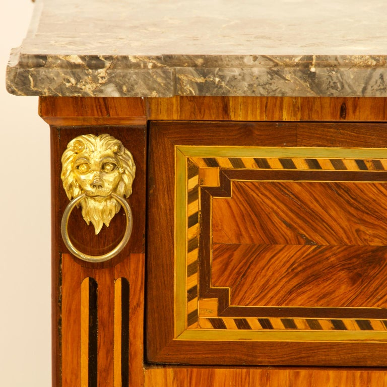 Large French 18th Century Louis XVI Marquetry Commode or Chest of Drawers For Sale 3