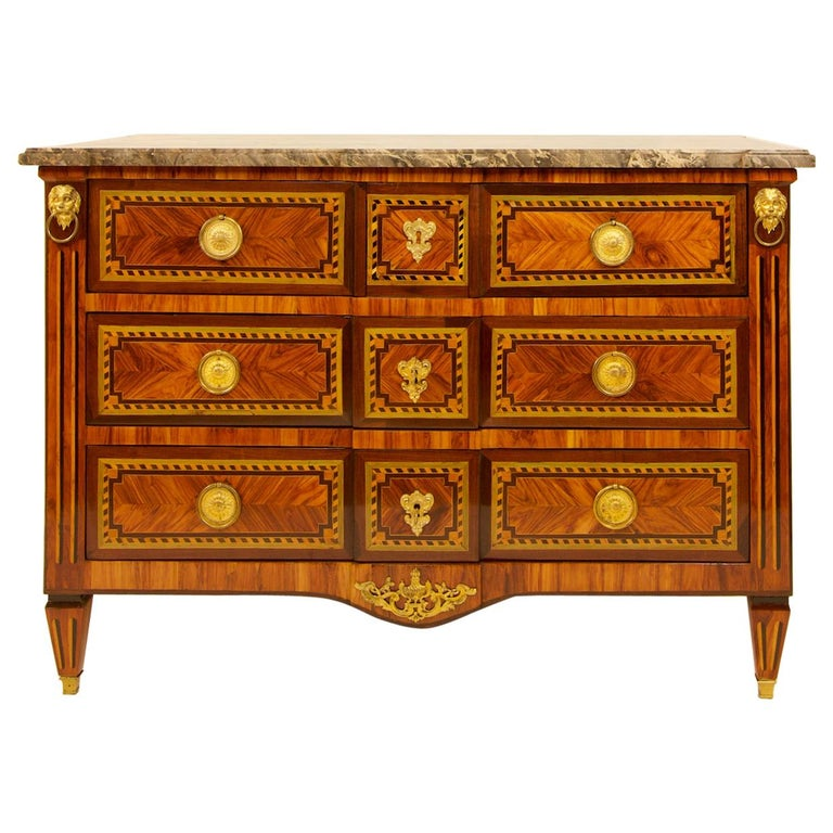 Large French 18th Century Louis XVI Marquetry Commode or Chest of Drawers For Sale