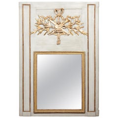Large French 18th Century Painted Trumeau Mirror with Giltwood Musical Trophy