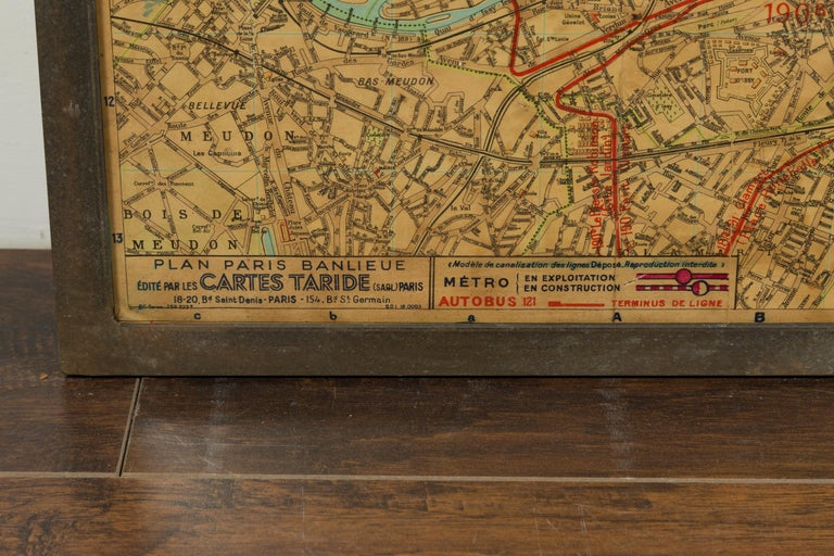 Large French 1950s Paris Metro Map Under Glass with Custom Made Iron Frame For Sale 4