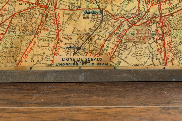 Large French 1950s Paris Metro Map Under Glass with Custom Made Iron Frame For Sale 5