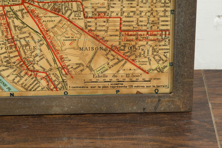 Large French 1950s Paris Metro Map Under Glass with Custom Made Iron Frame For Sale 6