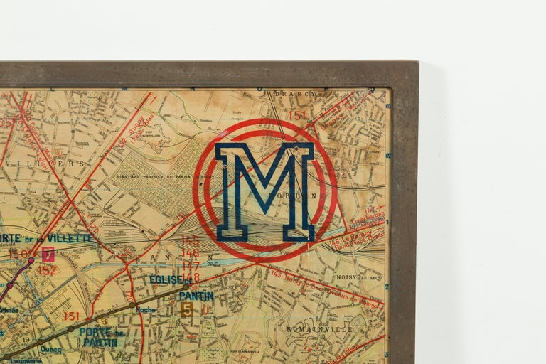 Large French 1950s Paris Metro Map Under Glass with Custom Made Iron Frame For Sale 8