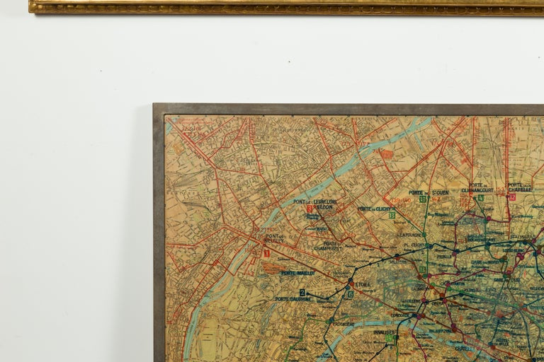 Large French 1950s Paris Metro Map Under Glass with Custom Made Iron Frame In Good Condition For Sale In Atlanta, GA