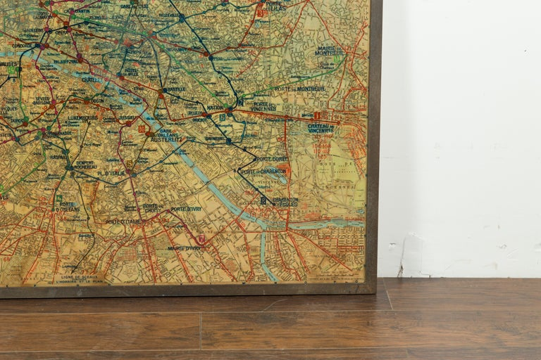 Paper Large French 1950s Paris Metro Map Under Glass with Custom Made Iron Frame For Sale