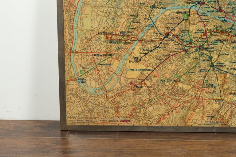 Large French 1950s Paris Metro Map Under Glass with Custom Made Iron Frame For Sale 1