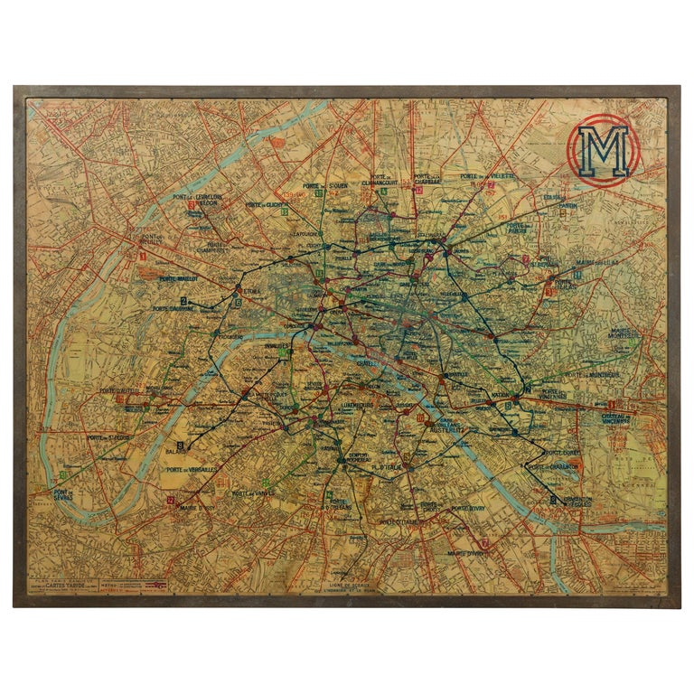 Large French 1950s Paris Metro Map Under Glass with Custom Made Iron Frame For Sale