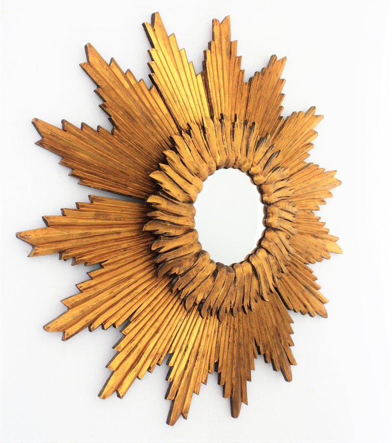 Mid-Century Modern Large French 1960s Double Layered Giltwood Convex Sunburst Starburst Mirror For Sale
