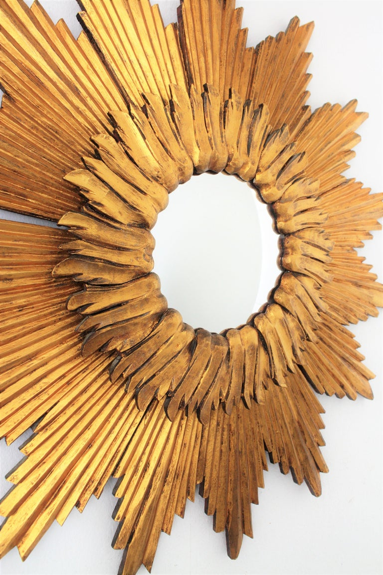 Large French 1960s Double Layered Giltwood Convex Sunburst Starburst Mirror For Sale 1