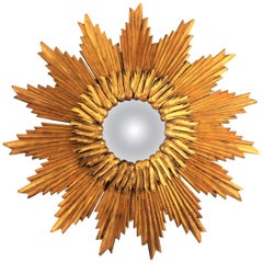 Large French 1960s Double Layered Giltwood Convex Sunburst Starburst Mirror