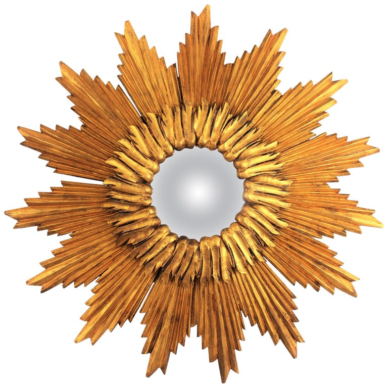 Large French 1960s Double Layered Giltwood Convex Sunburst Starburst Mirror For Sale