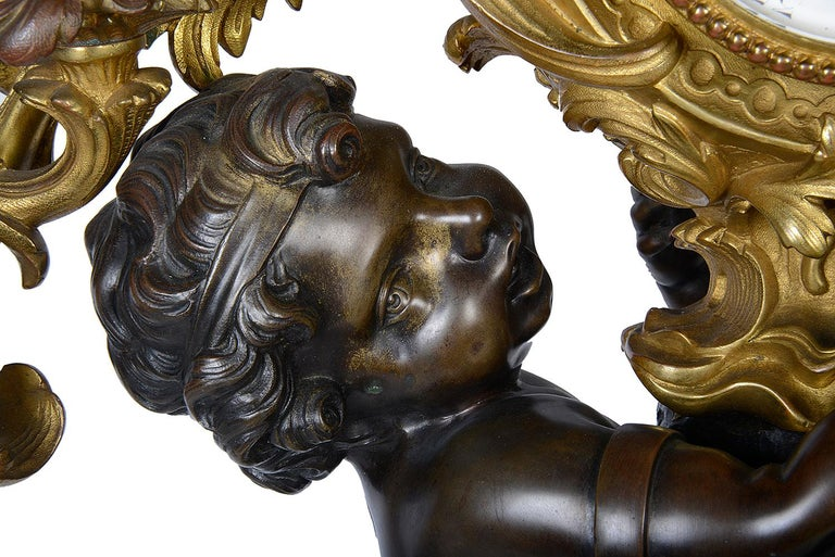 Louis XVI Large French 19th Century Bronze Cherub Clock For Sale