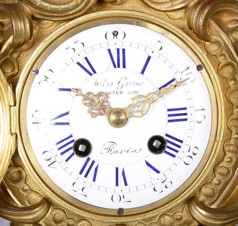 Large French 19th Century Bronze Cherub Clock For Sale 1