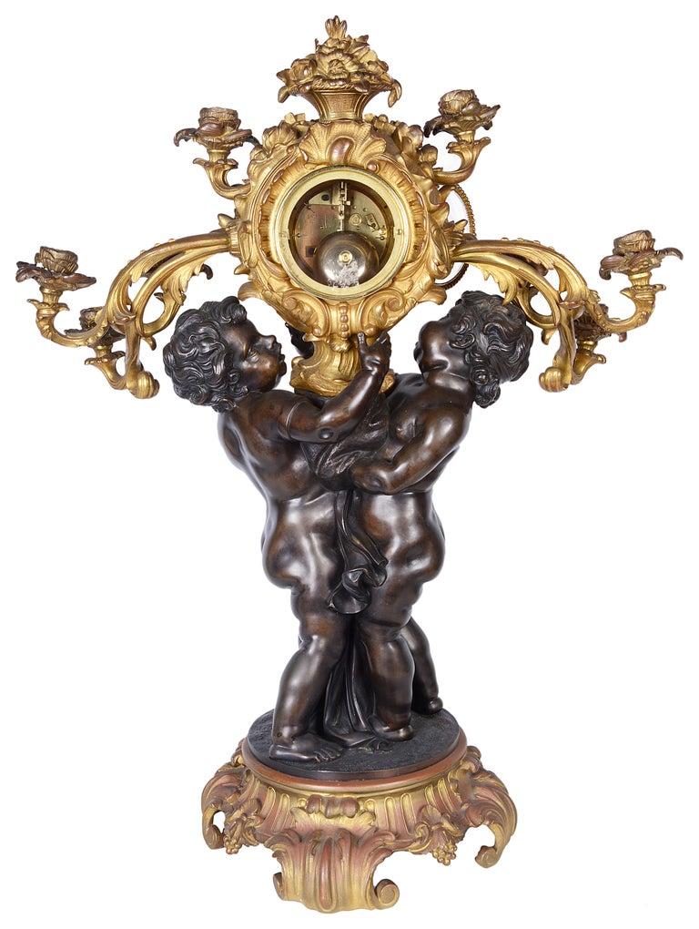 Large French 19th Century Bronze Cherub Clock For Sale 2
