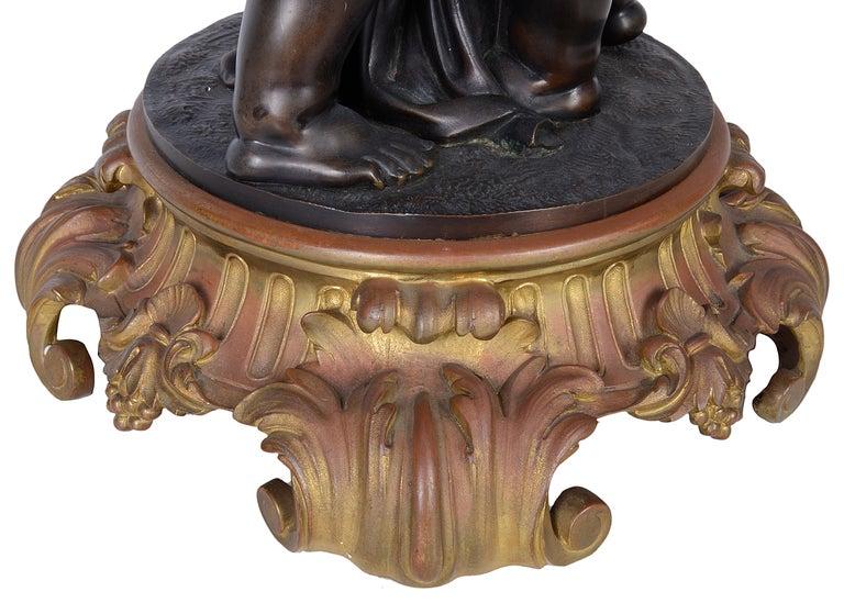 Large French 19th Century Bronze Cherub Clock For Sale 3