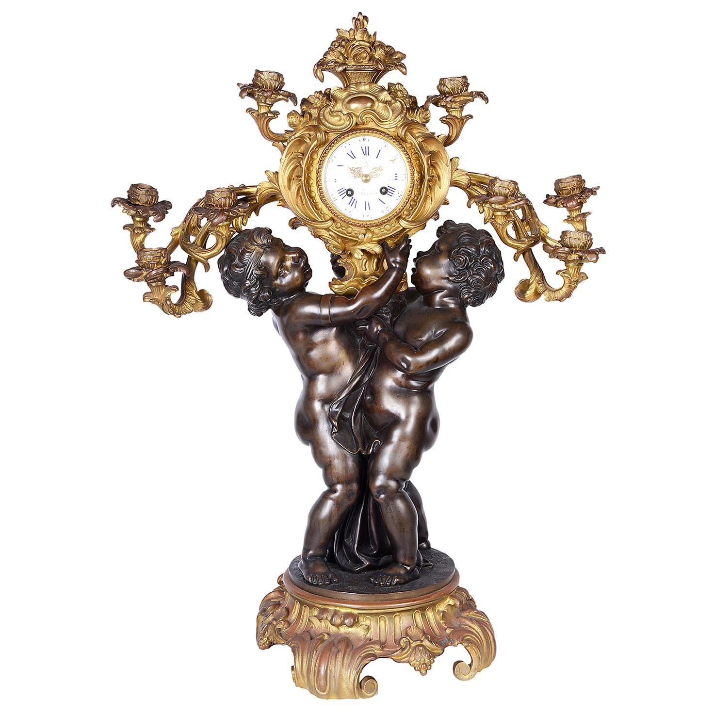 Large French 19th Century Bronze Cherub Clock