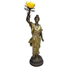 Large French 19th Century Bronze Sculpture of Lady with Rose Lamp, Pedro Riqual