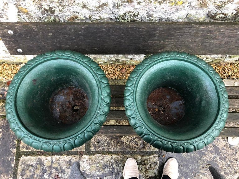 Large French 19th Century Cast Iron Campana Urns In Good Condition For Sale In Warminster , Wiltshire