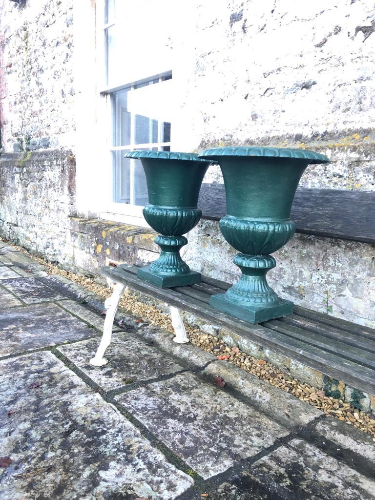 Large French 19th Century Cast Iron Campana Urns For Sale 4