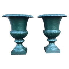 Large French 19th Century Cast Iron Campana Urns