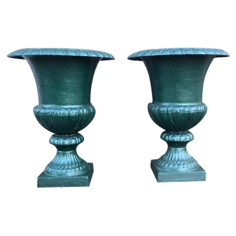 Large French 19th Century Cast Iron Campana Urns For Sale