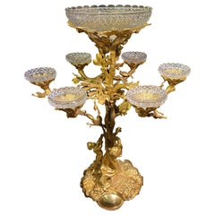 Large French 19th Century Gilt Bronze and Cut Glass Epergne